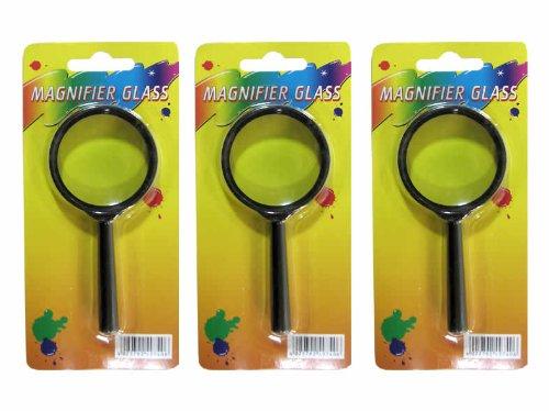 TSI 6er Set Lupe, Vergrößerungsglas, Kunststoffrahmen, 45mm im Ø, Griff 60mm lang, Farbe schwarz, echtes Glas (6)