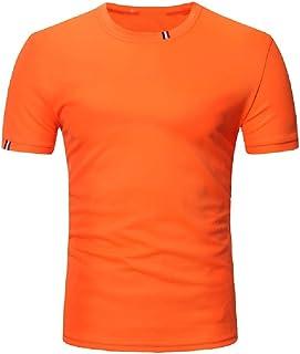 Camiseta de manga corta para hombre, estilo casual, cuello redondo, color sólido