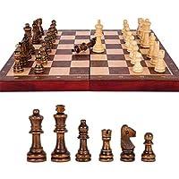 チェスセット、チェスセットトップグレード木製折りたたみ大チェスセット手仕事無垢材のピースクルミチェス盤子供エンターテイメントギフトボードゲームチェス(パズルエンターテイメントパーティー)