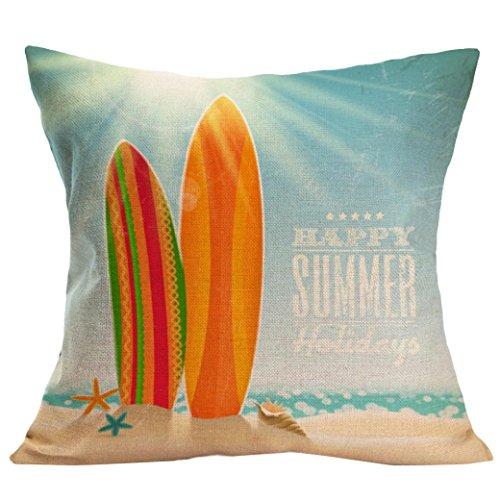 Throw Pillow Case,Woaills Cool Summer Beach Landscape Waist Throw Cushion Cover with Hidden Zipper 17X17 (W)