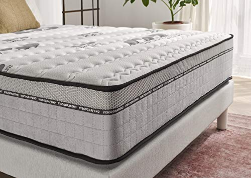 naturalex Visco Carbone | Antistatic Memory Foam Mattress with Spinal Alignment | EU Size 160x200cm | Latex + Viscoelastic Multilayer | Purifying + Hypoallergenic for a Calming Sleep