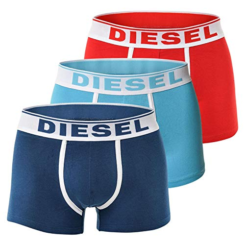 Diesel 3er Pack oder 2er Pack Herren Boxershorts Unterwäsche Stretch Cotton Fresh & Bright oder Kory S M L XL (XL, Blau/Türkis/Rot (3er Pack))