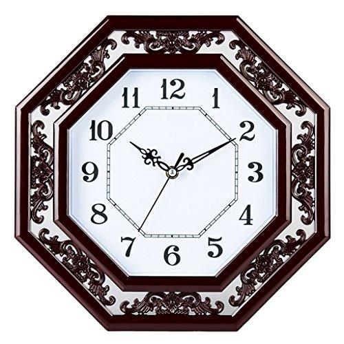 Relojes de pared 12 Pulgadas Chino Mute Relojes Moderno Estilo Chino imitación de Madera Dormitorio Oficina Sala de Estar Reloj de Cuarzo Clásico Gráficos de Pared Xuan - Worth Having (Color : A)