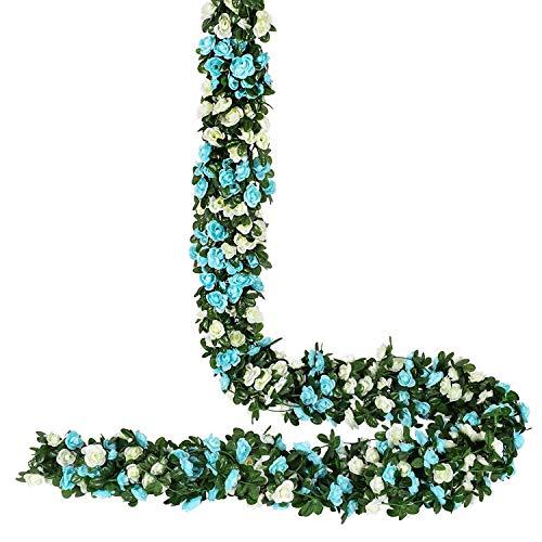 YQing 4 Piezas Artificiales Rosas Flores Guirnalda, 250Cm Rosas Falsas Artificial Flor Rosa Vid Planta Con Hojas De Hiedra Verde Para La Decoración Del Jardín Del Banquete De Boda (Azul)
