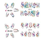 Swovo Nail Art Sticker Tips Decals Manicure DIY Sticker Water Transfer Nail Decals Decoration Dream Catcher Flower Mixed Pattern 2PCS