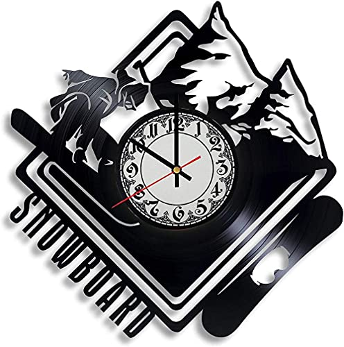 GVSPMOND Disco de Vinilo Reloj de Pared Snowboard Arte Reloj de Pared Deportes de Invierno esquí Logo Reloj Pareja Sala de Estar Dormitorio Pared Regalo de Boda