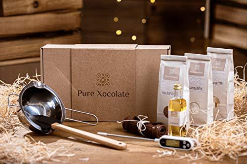 DIY-Set zum Schokolade selber machen | Schokolade Zuhause einfach selber machen oder verschenken | Kakaobutter, Kakaopulver, Mandelmehl und Agavendicksaft sind enthalten (Starter-Set)