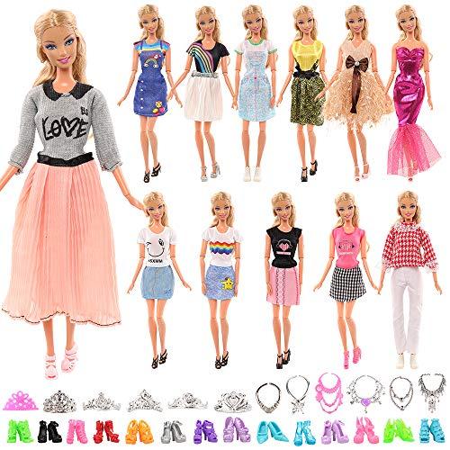 Miunana 27 Kleidung Schmuck Zubehör Kleider für Puppen = 5 Kleidung + 10 Schuhe + 6 Ketten + 6 Kronen für Barbie Puppen