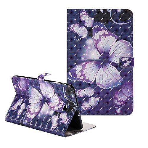 Galaxy Tab A 9.6 -Étui Billionn Ultra Svelte Bling Coloré La peinture 3D Modèle PU Cuir Retourner Coque Portefeuille Stand Protecteur Étui pour Samsung Galaxy Tab A 9.6 Pouce SM - T560 Violet Papillon