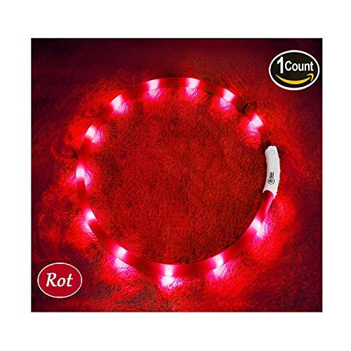 KABB LED Hundehalsband, USB wiederaufladbar Nacht-Sicherheit Hunde Halsband Längenverstellbareres Hunde Halsband mit DREI Beleuchtungsmodi für Hunde, Rot