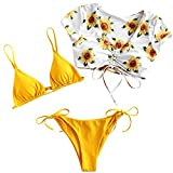 ZAFUL Conjunto de bikini acolchado, estampado Tie-Dye de encaje, triángulo, copa baja, pantalones...