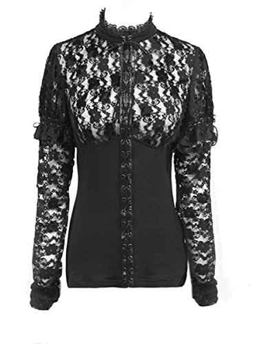 Punk Rave Dark Dreams Burleske Retro Gothic Steampunk Victorian Bluse Top Shirt Spitze 38 40 42, Größe:S/M