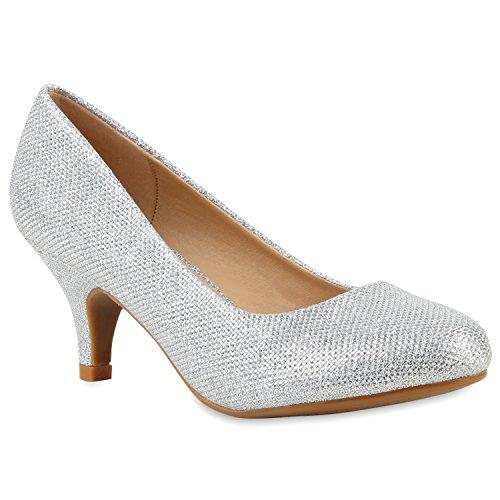 Klassische Damen Pumps Strass Glitzer Party Metallic Stilettos Absatz Abend Lack Schuhe 113906 Silber Silber 38 Flandell