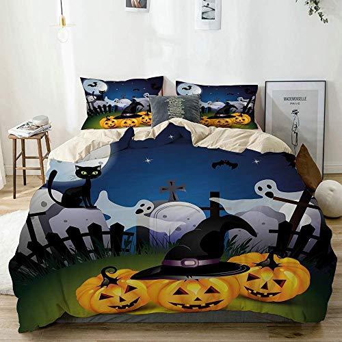 Juego de funda nórdica beige, diseño divertido de dibujos animados con calabazas, sombrero de brujas, fantasmas, cementerio, luna llena, gato, juego de cama decorativo de 3 piezas con 2 fundas de almo