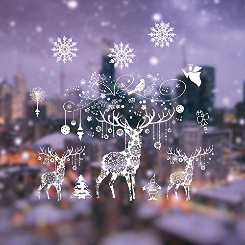 Weihnachten Fensterbilder, Fensterdeko Fensteraufkleber, Weihnachts Dekoration - DIY Schneeflocken Deko Weihnachtsmann Fensteraufkleber, Fensterfolie Selbsthaftend für Kinderzimmer und Vitrinen