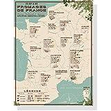 Mapa de queso de Francia, 30 x 40 cm, queso AOC francés – quesos AOP – póster vintage