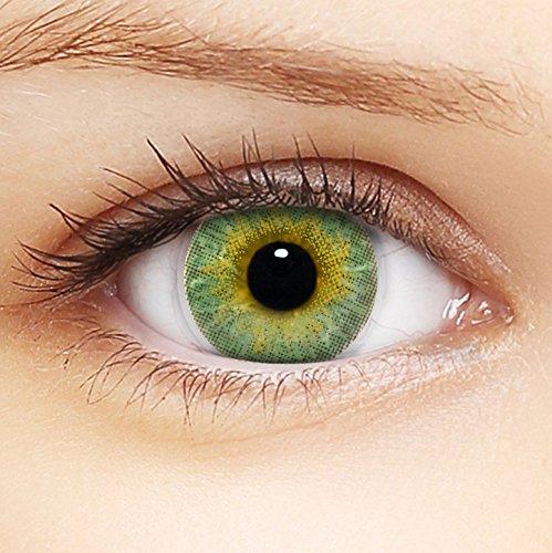 Linsenfinder Farbige Kontaktlinsen Grün '3Tones Green' + Behälter für HELLE Augen ohne und mit Stärke grüne Kontaktlinsen farbig