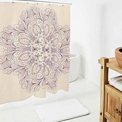 LAOAYI LightPink Mandala Bedruckt Duschvorhänge Anti-Bakteriell Wasserabweisend Shower Curtain Bad Vorhang mit Vorhanghaken White 200x200cm