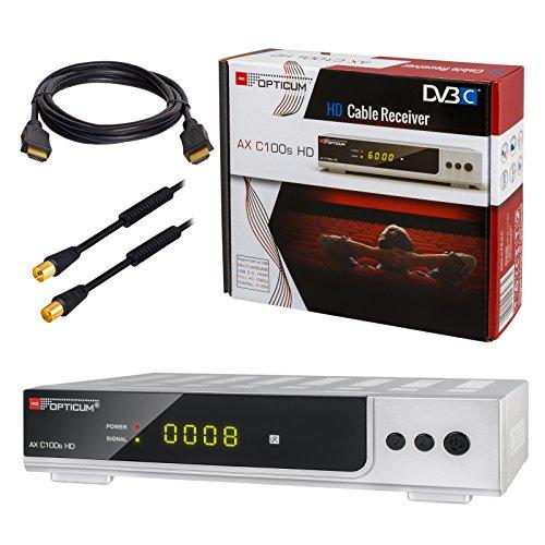 HB-DIGITAL Set: Opticum AX C100s HD Receiver für digitales Kabelfernsehen (HDMI, SCART, USB 2.0, Mediaplayer) + 1m HDTV Antennenkabel vergoldet mit Mantelstromfilter schwarz + HDMI Kabel