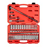 TEKTON 3/8 Inch Drive 6-Point Socket & Ratchet Set, 74-Piece (1/4-1 in, 6-24 mm) | SKT15311