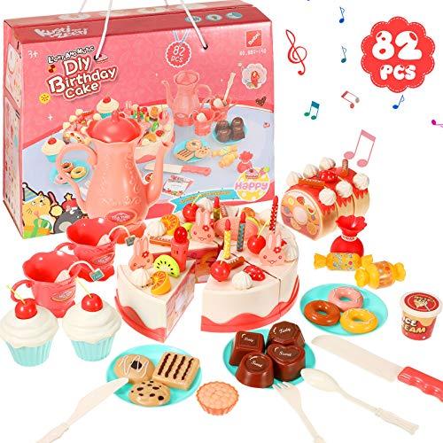 82 Juguetes de Fingir de Pastel de Cumpleaños de Bricolaje Juguete Artesanal de Jugar Comida Juguete de Fingir de Postres Juego de Juguetes de Cocina de Pasteles Luz y Música