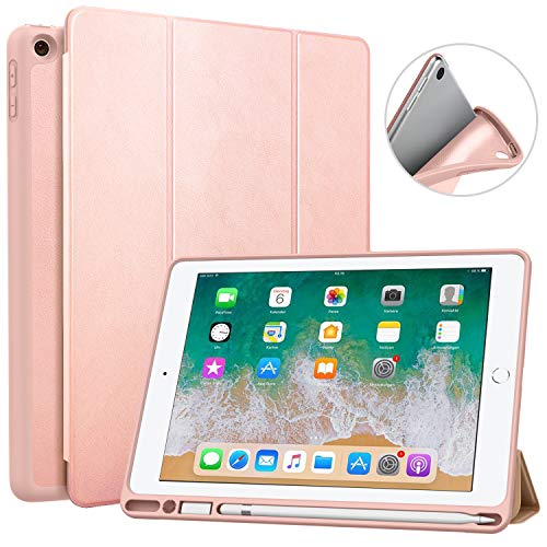 MoKo Case Fit 2018 iPad 9.7 6th Generation with Apple Pencil Holder - Slim Lightweight Smart Shell Stand Cover Case with Auto Wake/Sleep Fit Apple iPad 9.7' 2018 Released(A1893/A1954) - Rose Gold