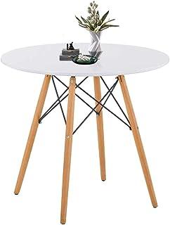 GOLDFAN Table de Salle à Manger Ronde 80 cm Design Moderne en Bois Mat Pieds en Bois de hêtre pour 2-4 Personnes, Salle à ...