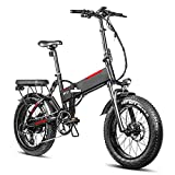 E-Bike Fahrrad 20 Zoll, City Ebike Klapprad 750W EBikes Klappfahrrad Mit Abnehmbarer 48V 13.6AH Lithium-Ionen-Batterie 45km/h Reichweite 90km,7 Gang,Scheibenbremsen for Mann Frau