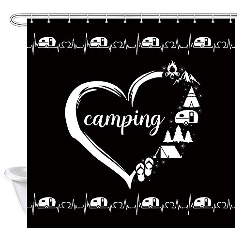 DYNH RV Shower Curtain, Camper Trailer Camping Forest Tent and Mountain Silhouette Shower Curtain, Fabric Shower Curtain for Bathroom 12PCS Hooks, 36X72IN Black White