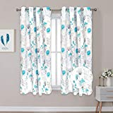 Flower Window Curtains Teal and Gray Curtain Panels Watercolor Floral Leaves Drapes Grommet Room Darkening Thermal Insulated Curtains for Living Room Bedroom 52 × 63 Inches 2 Panels
