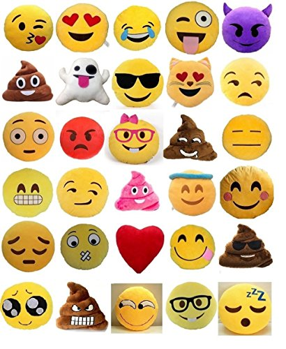 Set of 4 Emoji Pillows 12 Inch Large Yellow Smiley Emoticon
