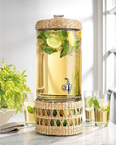 Modern Wicker Basket Ice Cold Clear Glass Beverage Drink Dispenser 2 Gallon With Spigot With Rattan Glass Base For Fruits Or Ice Bucket- Great For Parties, & Outdoors