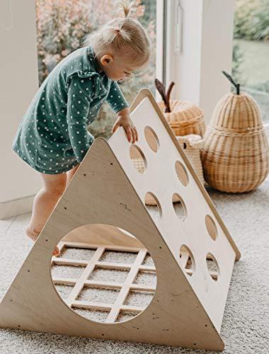MAMI | Triángulo de Pikler para niños | Estructura para escalada de interior | Fabricado en madera natural | Tobogán incluido
