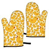Cute Yellow Chickens Pattern - Flat Style Vector Image_21649 Oven Mitts Heat Resistant Kitchen Mitts with Soft Cotton Lining and Non-Slip Surface Safe for Baking, Cooking