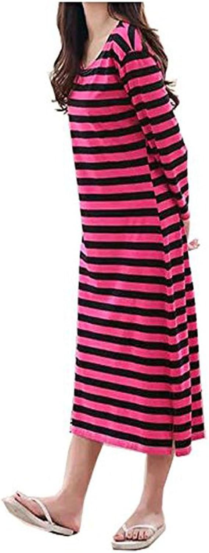 DKKK Women's Cotton 3 4 Sleeve Round Neck Striped Nightgown Sleep TShirt Dress