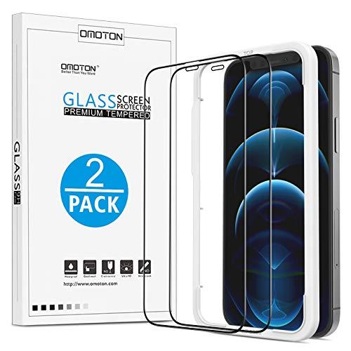 OMOTON kompatibel mit iPhone 12 Pro Max Panzerglas, mit Rahmen-Installationshilfe, 3D Full Screen, Anti- Kratzer, Bläschenfrei, HD-Klar, 2 Stück Schutzfolie