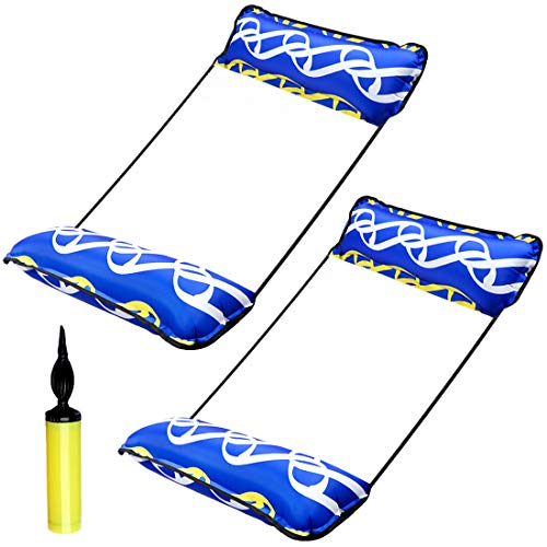 Paquete de 2 flotadores de piscina para adultos, flotador de agua para adultos, hamaca 4 en 1 multiusos para piscina, sillón flotador con bomba infladora