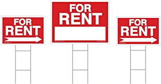 3-Pack for Rent Sign Kit - Double Sided Signs with Heavy Duty Stakes - Red Property Signs 18