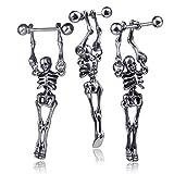 CYYMY Esqueleto Movimiento Pendientes de Halloween Colgante Calavera Evitar Alergia Acero Inoxidable Arete Joyería Regalo para Mujeres Hombre