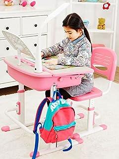 Leomark Smart Escritorio Para Niños Escritorio Silla Regulable Escritorio Cajón Para Dibujar Hacer Geberes y Manualidades   Altura Regulable  Lámpara Led Mesa Inclinable Muebles Para Niños Rosa
