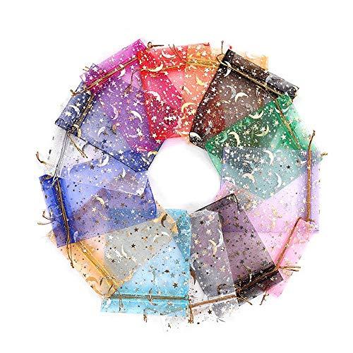 YDONGIIU Color de la Mezcla de satén Lazo de Estrellas y Fiesta de la Boda Bolsa de Organza Luna Favor del Regalo de la joyería del Bolso del Reloj Bolsas - 100 Piezas Bolsas de Organza en 11x16cm