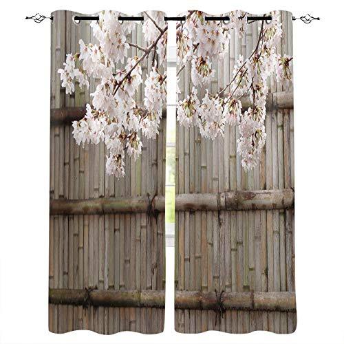 VBUEFM Cortina para Ventana Dormitorio Melocotonero Blanco en la Pared de bambú Gris 75x166cm x2 Cortina Térmica Aislante con Ollaos Moderno Proteccion Privacidad Cortina Opaca