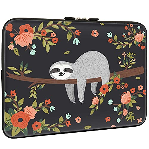 Lapac Black Floral Cute Sloth Sleeve Bag, Water Repellent Neoprene Light Weight Computer Skin Bag, Red Flower Pattern Notebook Carrying Case Cover Bag for 15/15.4/16 Inch MacBook Pro, MacBook Air