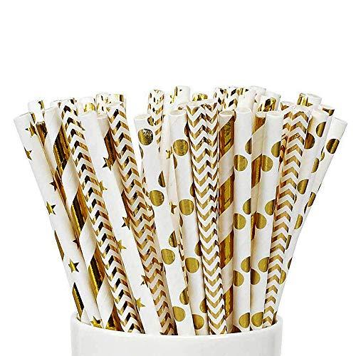Simon Lee Woodham 100 Pailles en Papier à Boire, 4 Modèles, Pailles en Papier Jetables, Pailles en Papier Biodégradables en Or, pour Cocktails, Boissons Froides, Jus Parfaits pour la Fête, Mariage