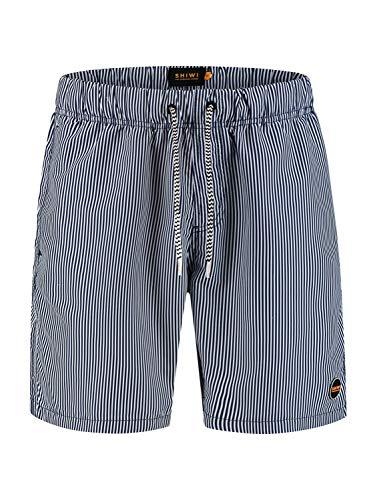 Shiwi Herren Badehose Skinny Stripe dunkelblau L