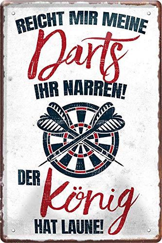 """Blechschilder lustiger Spruch: """"REICHT Mir Meine Darts Ihr NARREN! DER KÖNIG HAT Laune!"""" Deko Bar Pub Schild Theke für Dart Fans Geschenkidee 20x30cm"""