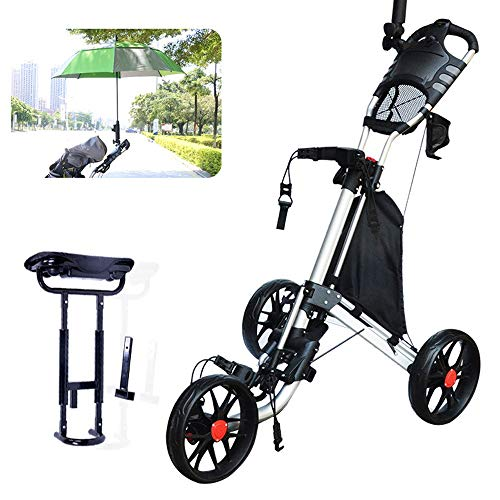 Why Should You Buy JHHXW Golf Cart, 3-Wheeled Trolley, with Brake, Seat, Umbrella Stand, Cup Holder ...