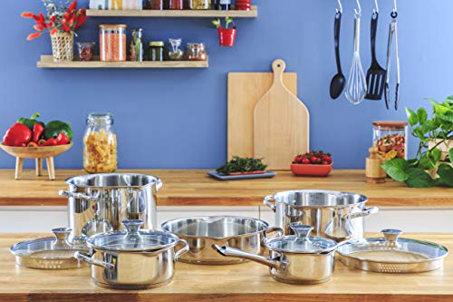 Lagostina Smart Set of Saucepans in Stainless Steel, 9 Pieces)