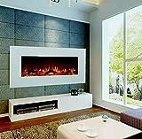 GLOW FIRE Elektrokamin mit Heizung, Wandkamin mit LED   Künstliches Feuer mit zuschaltbarem Heizlüfter: 750/1500 W   Fernbedienung (Größe L - 126 cm, Weiß) - 5