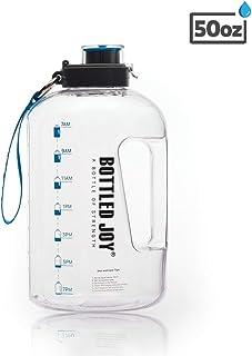 BOTTLED JOY 50oz Water Bottle, BPA Free 1.5L Kids Water Bottle Hydration with Motivational Time Marker Reminder Leak-Proof...